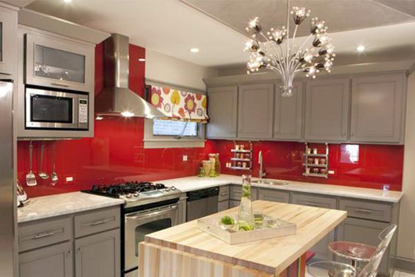 Vidrio decorativo cocina color rojo